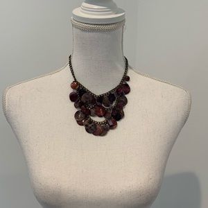 Layered Purple Pearlescent Shell Necklace